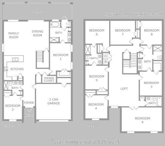Maui 8 bedroom model floor plan