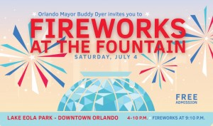 Fireworks at the Fountain Fourth of July 2015 in Orlando
