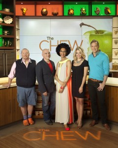 "THE CHEW - ABC's ""The Chew"" features celebrity chefs Mario Batali, Michael Symon and Carla Hall, entertaining expert Clinton Kelly and health and wellness enthusiast Daphne Oz. (ABC/Bob D'Amico) MARIO BATALI, MICHAEL SYMON, CARLA HALL, DAPHNE OZ, CLINTON KELLY"